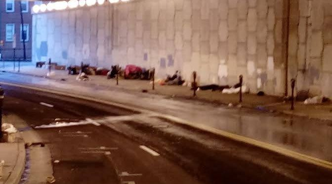 Atlanta's homeless sleeping under a highway overpass downtown